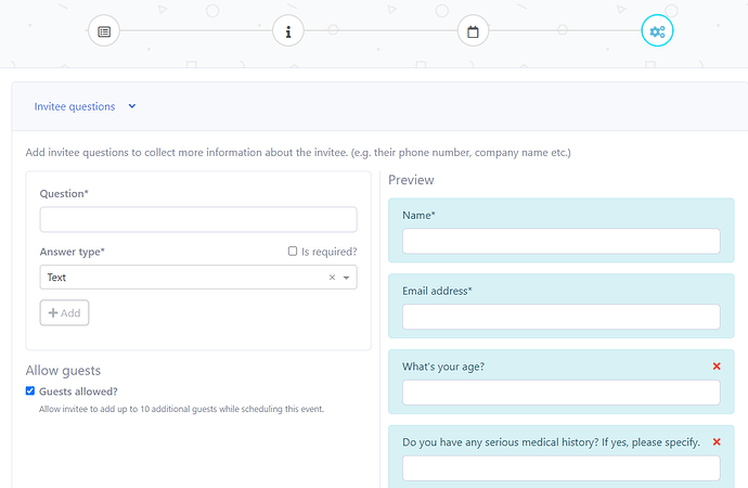 Questionnaire form for their patients