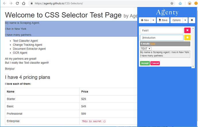 web scraping using class selector