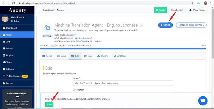 Start the Machine Translation Agent