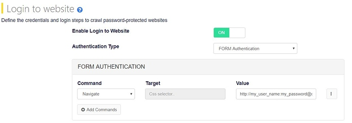 basic authentication website crawling with form