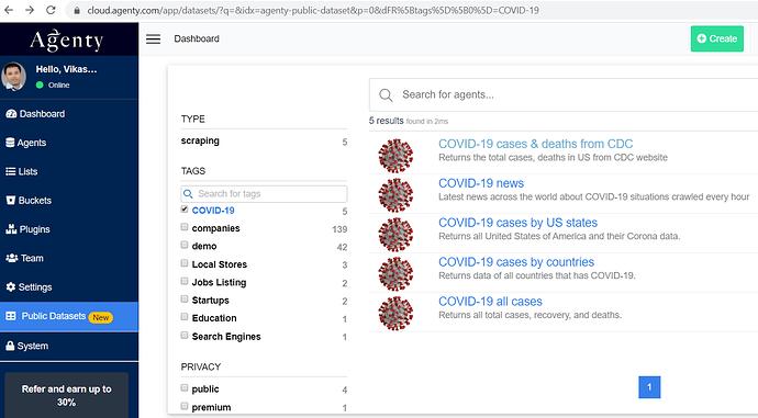 corona virus web scraping data and api