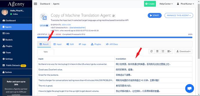 translation result