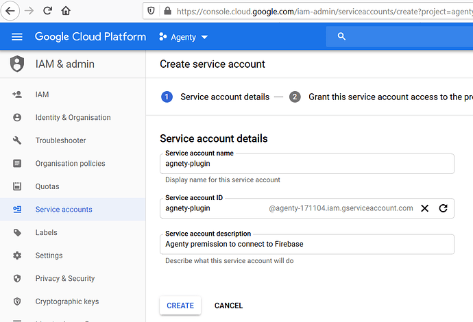 Create Google cloud service acccount