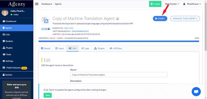 Start translation job