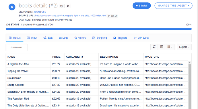 details page scraping result
