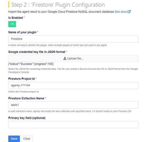 Firestore plugin configuration