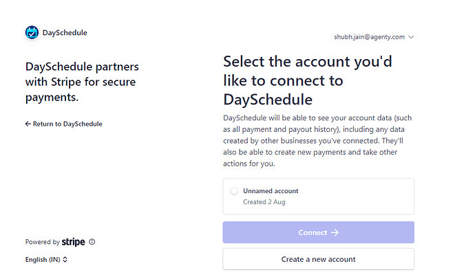 Stripe select account