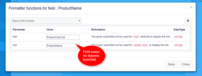 field names for dynamic hyperlink formatter