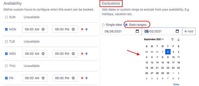 exclude date range