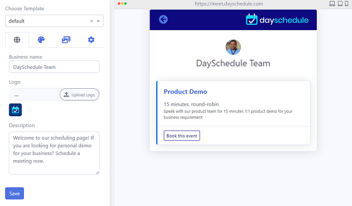 Scheduling page preview