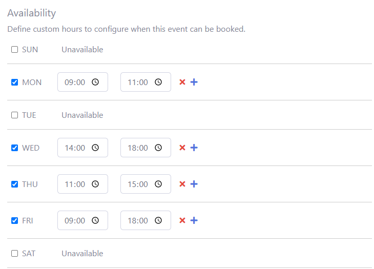 Simple hours scheduling