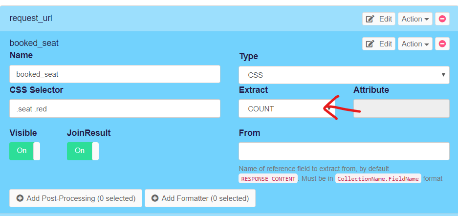 count option in scraping