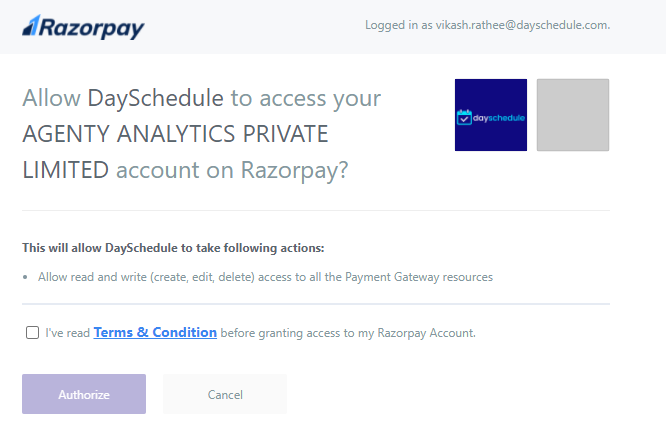 Razorpay oauth connection